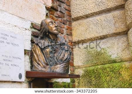 Bronze bust of William Shakespeare in Verona, Italy - stock photo