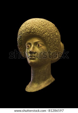 Bronze Bust of woman in Ampurias ruins, Catalonia, Spain - stock photo
