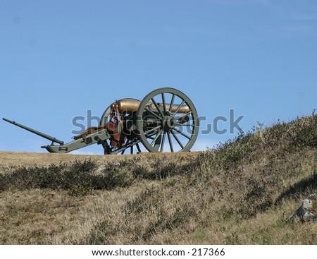 Bronze civil war cannon - stock photo