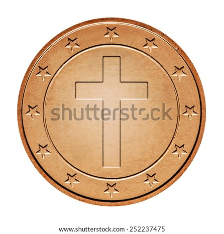 Bronze coin  with cross and stars around isolated on a white background - stock photo