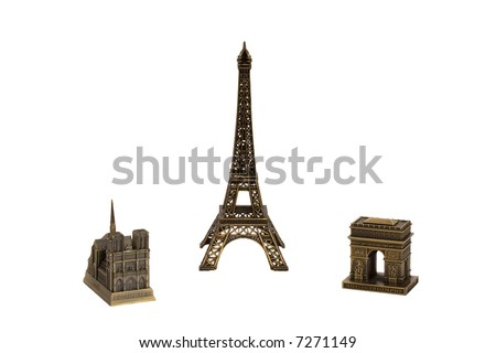 Bronze copies of Paris sights isolated on white - stock photo