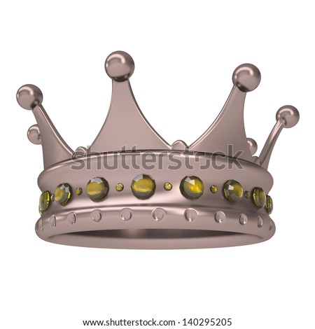Bronze crown decorated with yellow sapphires. Isolated render on a white background - stock photo