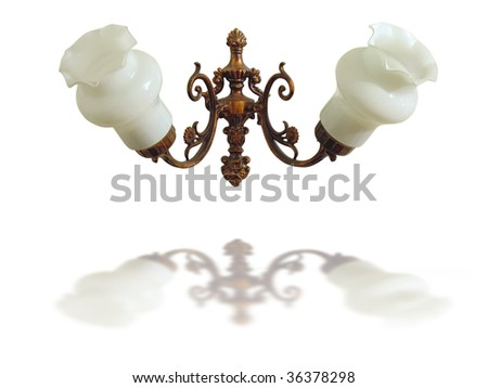 bronze electric wall lamp isolated over white background - stock photo