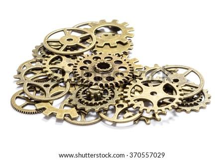 bronze gear heart - stock photo