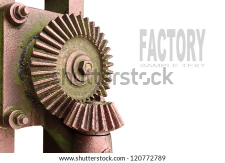Bronze gear wheel with space for your text. - stock photo