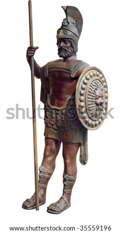 Bronze Gladiator isolated with clipping path - stock photo