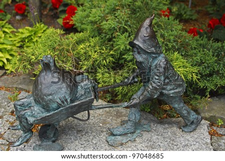Bronze gnome sculpture in the botanical gardens in Wroclaw in Poland in Eastern Europe