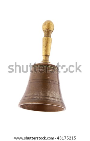 bronze hand bell isolated on white