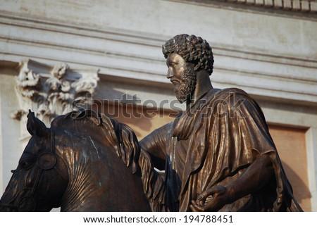 Bronze Horse Statue of the Roman Emperor Marcus Aurelius on the Capitol Hill - stock photo
