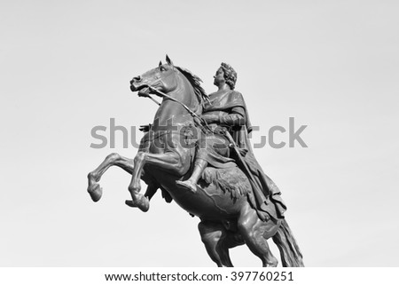 Bronze Horseman - monument to Peter I on the Senate Square in St. Petersburg. Black and white. - stock photo