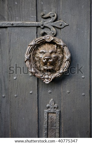 Bronze knocker in the shape of a lion head from the gate - stock photo