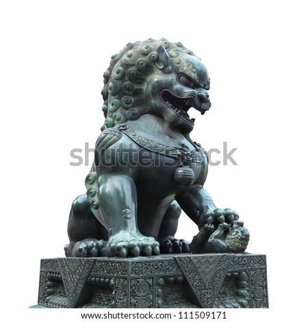 bronze lion isolated on white with clipping path - stock photo