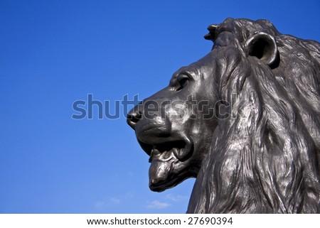 Bronze Lion Sculpture, Trafalgar Square, London - stock photo