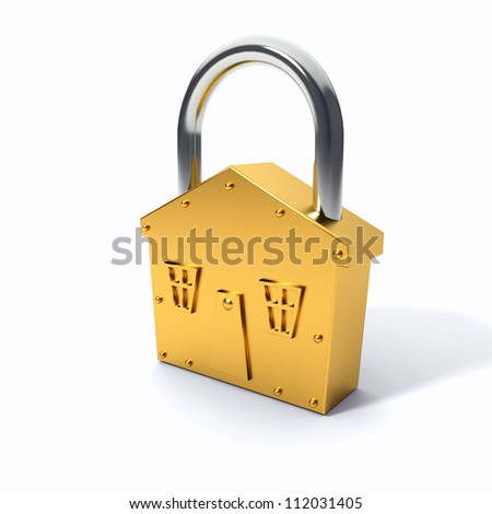 Bronze lock - house shape symbol over white background