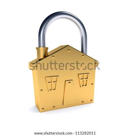 Bronze lock - house shape symbol over white background - stock photo