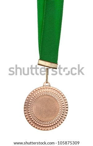 Bronze medal on green ribbon isolated on white - stock photo