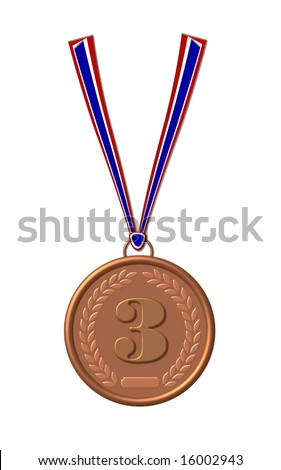 bronze  medal on white background