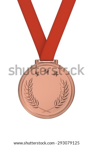 Bronze medal with laurels and stars on a red ribbon. Victory, best product, service or employee, first place concept. Achievement in sports. Isolated on white background.