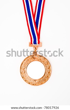 bronze medal with your own logo or text in the center, isolated on white