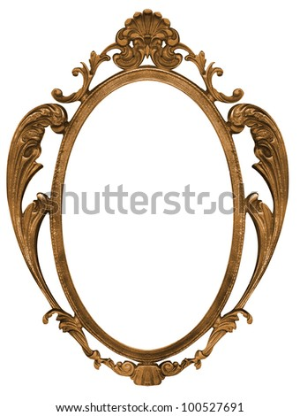bronze metal picture frame with isolated white center - stock photo