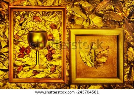 bronze metal texture with vintage frames - stock photo