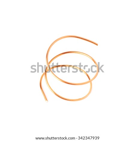 Bronze metal wire over white isolated background - stock photo
