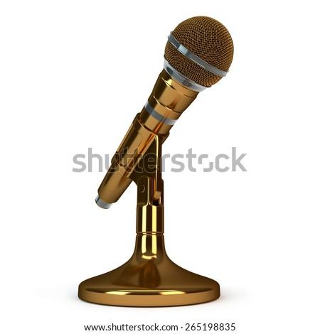 bronze microphone - stock photo