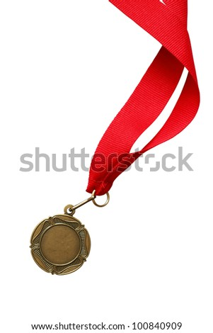 Bronze or gold medal with nice long red ribbon on white background. Isolated with clipping path