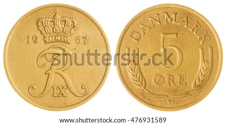 Bronze 5 ore 1967 coin isolated on white background, Denmark
