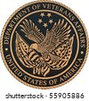 bronze plaque department of veteran affairs - stock photo