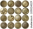 Bronze sewing buttons collection, isolated - stock photo