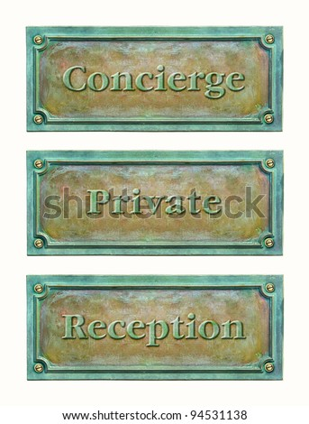 Bronze sign plaque for the hotel or home: concierge, reception, private. Brass plaque with text for the doorplate. Metal grunge nameplate with names for interior or exterior design. - stock photo