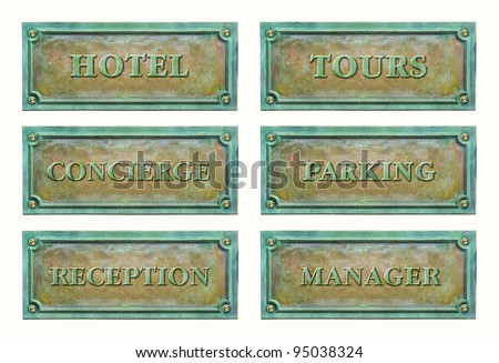 Bronze sign plaque for the Hotel services: concierge, hotel, reception, parking, manager, tours. Brass plaque with text for the door plate. Metal grunge nameplate for interior or exterior design.