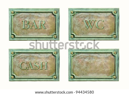Bronze sign plaque with names text: wc; cash; bar. Metal grunge nameplate with frame for interior design. Classic brass plaques with text for the doorplate.