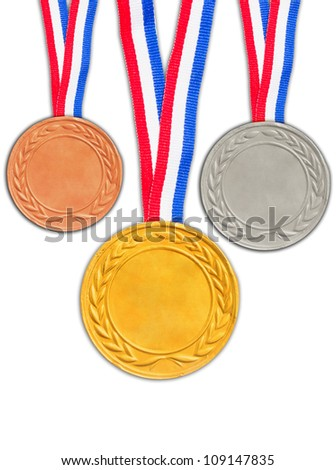 Bronze silver and golden medals isolated on white background. - stock photo