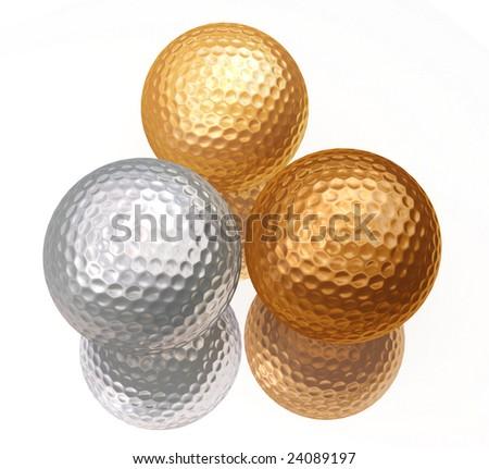 bronze, silver, gold golf balls on white - stock photo