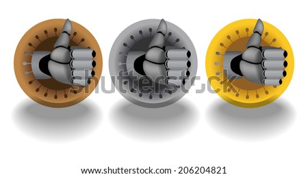 Bronze, silver, gold, raster cyborg thumb up rating icons on white background with dropping shadows - stock photo