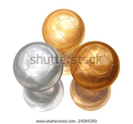 bronze, silver, gold soccer balls on white separated - stock photo