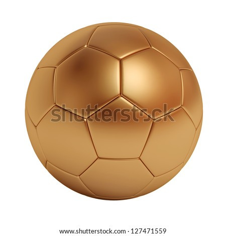 Bronze soccer ball isolated on white background - stock photo