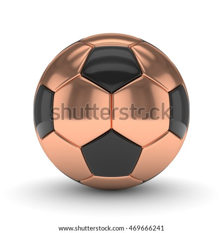 Bronze soccer ball on white background. 3D rendering.