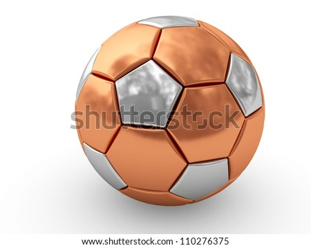 Bronze soccer ball on white background rendered with soft shadows. High resolution 3D image - stock photo