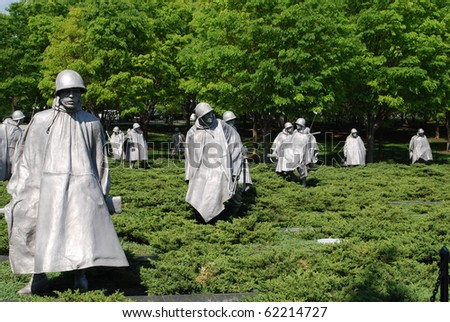 Bronze Soldiers on Patrol at Korean War Memorial, Washington Mall, Washington DC - stock photo