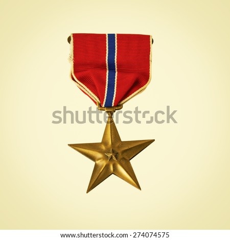 Bronze Star medal awarded for valor in combat in the USA Army. Retro instagram look.