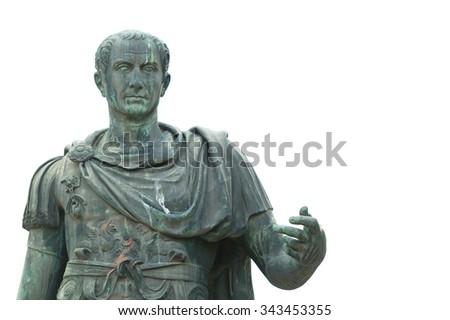 Bronze statue near the Roman Forum emperor Julius Caesar - stock photo