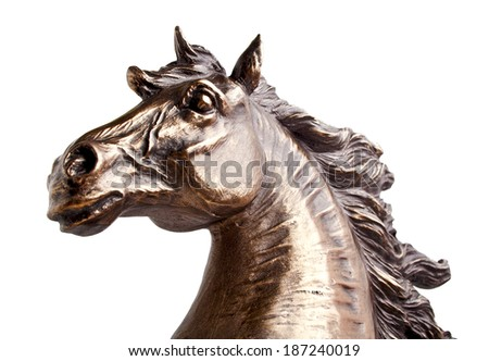 Bronze statue of a horse, isolated on a white background - stock photo