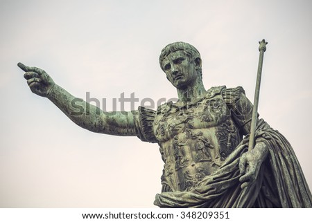 Bronze statue of Augustus, the first emperor of Rome and father of the nation, Rome, Italy, Europe, Vintage filtered style