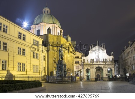 Bronze Statue of Charles IV in Prague, Czech Republic (Night view)   - stock photo