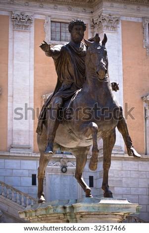 bronze statue of Emperor Marcus Aurelius, Rome, Italy - stock photo