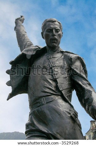 Bronze statue of Freddie Mercury. - stock photo