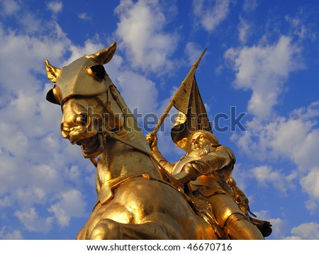 Bronze statue of Joan of Arc on Rue de Rivoli in Paris. - stock photo